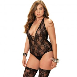 2PC FLORAL TEDDY BODYSTOCKING
