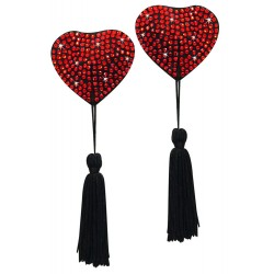 French Tassels Hearts red/blac