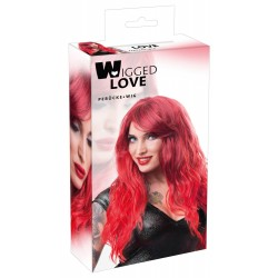 Wig red wavy long